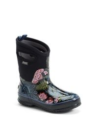 Bogs | Black 'classic Winter Blooms' Mid High Waterproof Snow Boot With Cutout Handles | Lyst