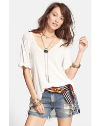 Free People - White 'free Falling' Shirttail V-neck Tee - Lyst