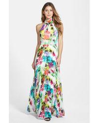 Eliza J   Multicolor Print Chiffon Halter Maxi Dress   Lyst