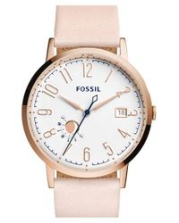 Fossil   White 'vintage Muse' Leather Strap Watch   Lyst