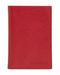 Longchamp Gray Leather Passport Case