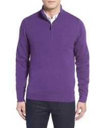 John W. Nordstrom - Purple John W. Nordstrom Quarter Zip Cashmere Sweater for Men - Lyst