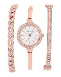 Anne Klein - Pink Crystal Bezel Watch & Bangle Set - Lyst