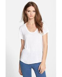 TOPSHOP - White Short Sleeve V-neck Tee - Lyst