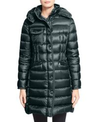 Moncler | Green 'Hermine' Grosgrain Trim Down Coat | Lyst