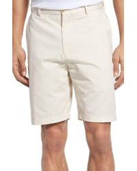 Peter Millar | Gray 'winston' Washed Twill Flat Front Shorts for Men | Lyst