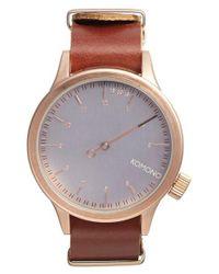Komono - Pink 'magnus The One' Round Leather Strap Watch for Men - Lyst