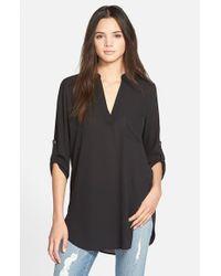 Lush | Black Perfect Roll Tab Sleeve Tunic | Lyst