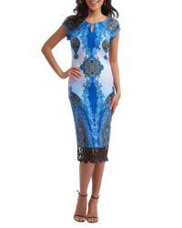 Eci - Blue Print Scuba Sheath Dress - Lyst