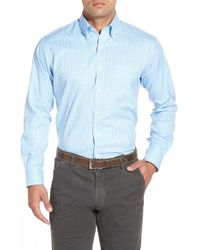Peter Millar   Blue 'nanoluxe' Regular Fit Wrinkle Resistant Twill Check Sport Shirt for Men   Lyst