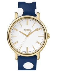 Timex | Blue Timex 'classic' Dot Leather Strap Watch | Lyst
