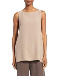 Eileen Fisher | Natural Long Bateau Neck Silk Shell | Lyst