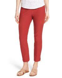 Eileen Fisher Red Notch Cuff Slim Crop Pants