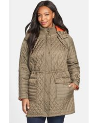 Vince Camuto | Gray Quilted Jacket With Detachable Contrast Lined Hood | Lyst