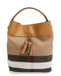 Burberry | Natural Medium Check Canvas Tote | Lyst