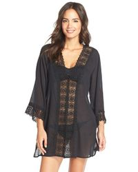 La Blanca - Black 'Island Fare' V-Neck Cover-Up Tunic - Lyst