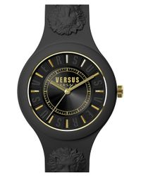 Versus | Black 'fire Island' Round Rubber Strap Watch | Lyst