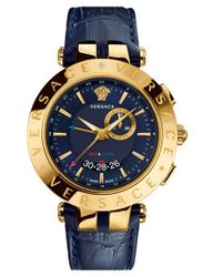 Versace - Blue 'v-race Gmt' Round Leather Strap Watch for Men - Lyst
