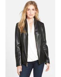 Cole Haan Black Wing Collar Lambskin Leather Jacket