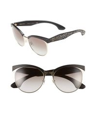 Miu Miu   Black 56mm Pave Cat Eye Sunglasses   Lyst