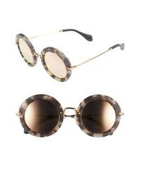 Miu Miu | Brown 'noir' 49mm Round Sunglasses | Lyst