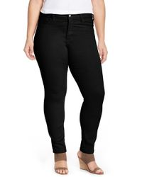 NYDJ - Black 'alina' Colored Stretch Skinny Jeans - Lyst
