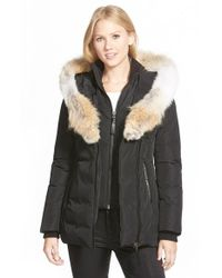 Mackage | Black Hooded Down Parka With Inset Bib & Genuine Coyote Fur Trim | Lyst