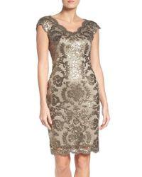 Tadashi Shoji | Metallic Sequin Sheath Dress | Lyst