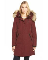 Vince Camuto | Red Down & Feather Fill Parka With Faux Fur Trim | Lyst