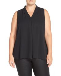 Vince Camuto | Black Pleat Front V-neck Sleeveless Blouse | Lyst