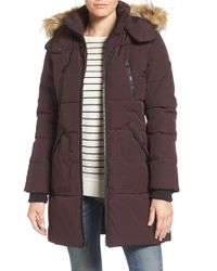 Guess | Multicolor 'expedition' Quilted Parka With Faux Fur Trim | Lyst
