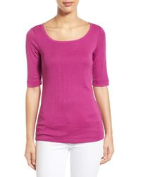 Caslon - Pink Caslon Ballet Neck Cotton & Modal Knit Elbow Sleeve Tee - Lyst