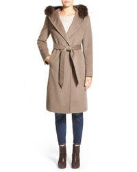 Ellen Tracy | Brown Genuine Fox Fur Trim Long Hooded Wool Blend Coat | Lyst