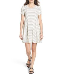 Lush White Paneled Shift Dress