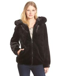 Gallery Black Grooved Faux Fur Hooded Jacket