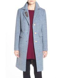 Eliza J | Blue Embellished Boucle Reefer Coat | Lyst