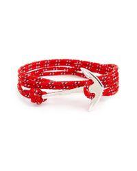 Miansai   Red Silver Anchor Rope Wrap Bracelet for Men   Lyst