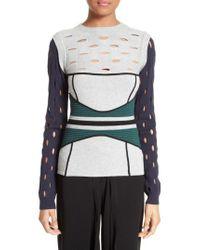 Yigal Azrouël - Gray Knit Colorblock Sweater - Lyst