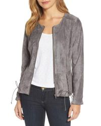 Kut From The Kloth - Gray Lace-up Peplum Faux Suede Jacket - Lyst