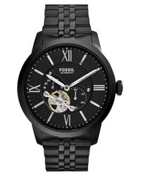 Fossil Black 'townsman' Automatic Bracelet Watch for men
