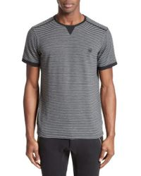 The Kooples   Black Stripe T-shirt for Men   Lyst