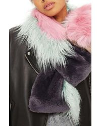 TOPSHOP - Multicolor Zeus Faux Fur Patchwork Scarf - Lyst