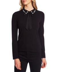 Cece Black Embellished Collar Tie Neck Sweater