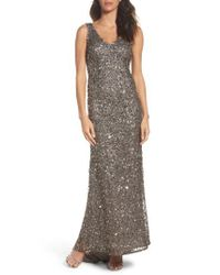 Adrianna Papell | Multicolor Sequin Gown | Lyst