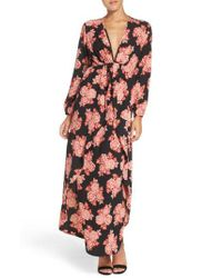 Fraiche By J - Red Floral Maxi Dress - Lyst