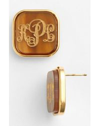 Moon & Lola - Brown 'vineyard' Personalized Monogram Stud Earrings - Lyst