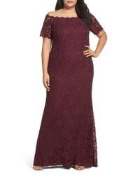 Adrianna Papell Red Lace Off The Shoulder Mermaid Gown