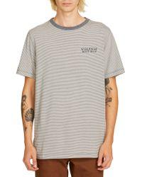Volcom Gray Feeder Stripe T-shirt for men