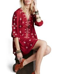 Free People - 'star Gazer' Embroidered Tunic Dress - Lyst