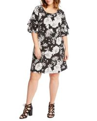 Karen Kane Black Floral Ruffle Sleeve Shift Dress
